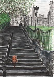 Fox on Playfair Steps Edinburgh Inky Fox
