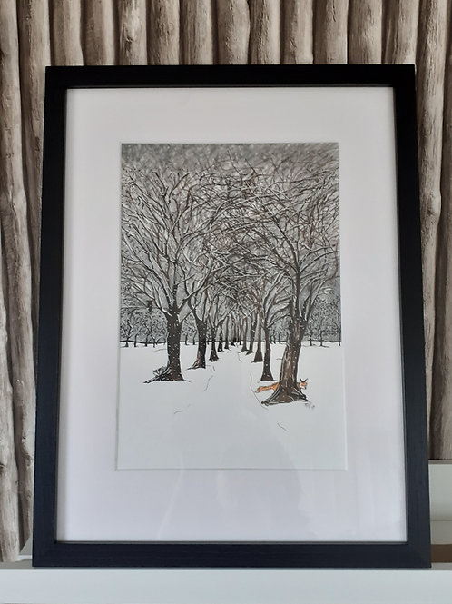 Fox and badger snowscene