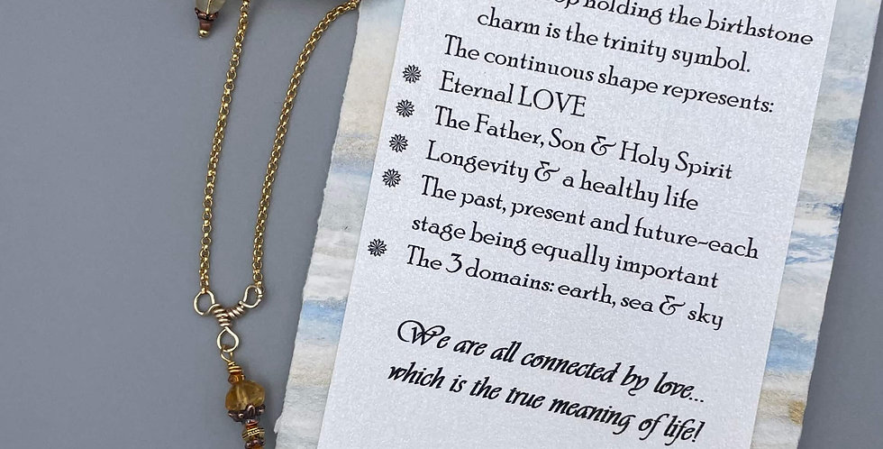 Citrine & Topaz Circle of Life Trinity Birthstone Bracelet