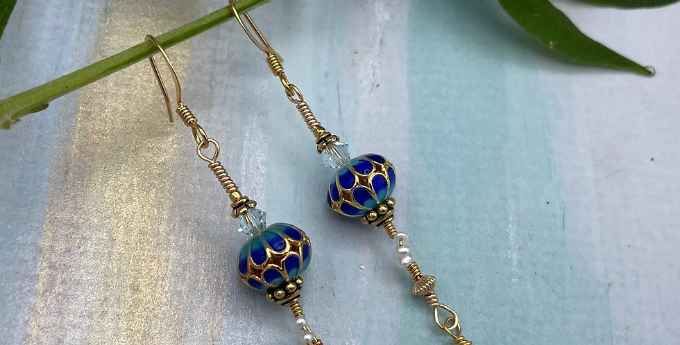 Pearl and Lapis Cloisonné Azure Earrings