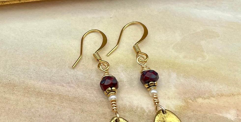 Dragon Blood Jasper & Pearl Golden Salutations Earrings