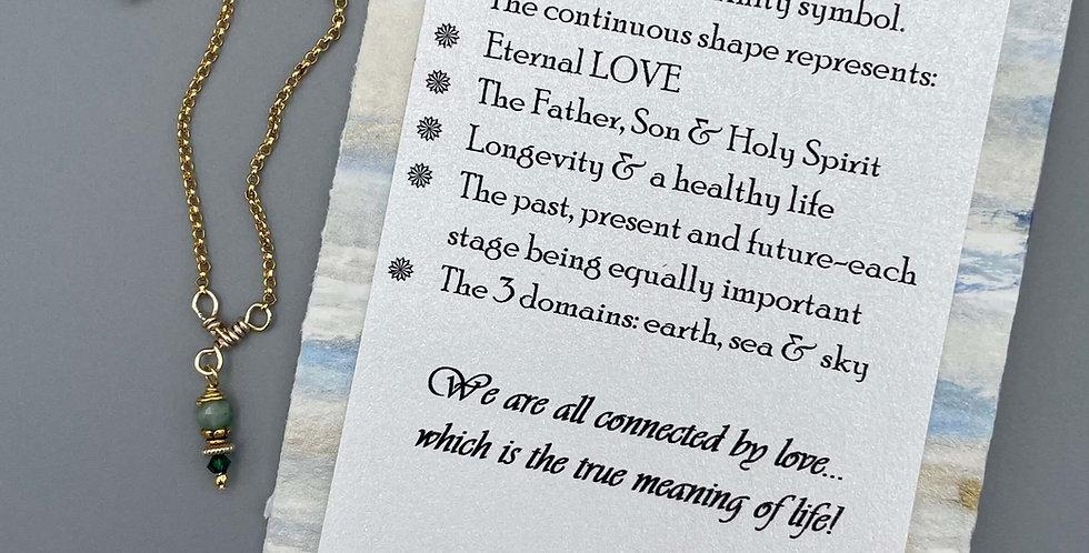 Emerald Circle of Life Trinity Birthstone Bracelet