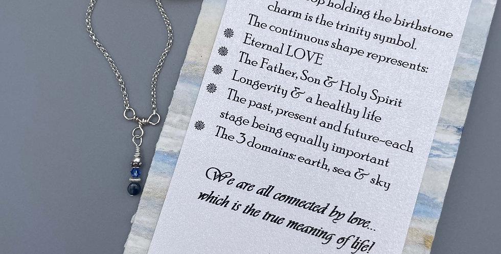 Sapphire Circle of Life Trinity Birthstone Bracelet