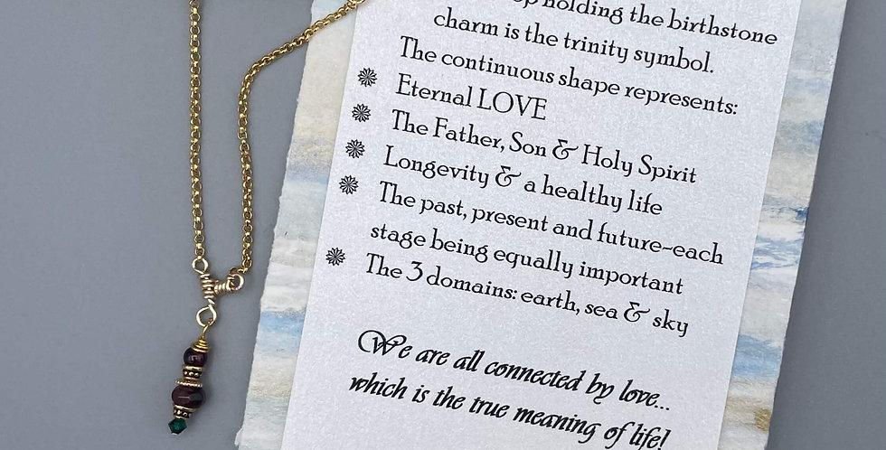 Garnet Circle of Life Trinity Birthstone Bracelet