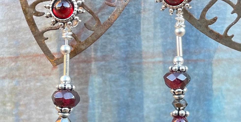 Garnet Regency Star Interchangeable Earrings