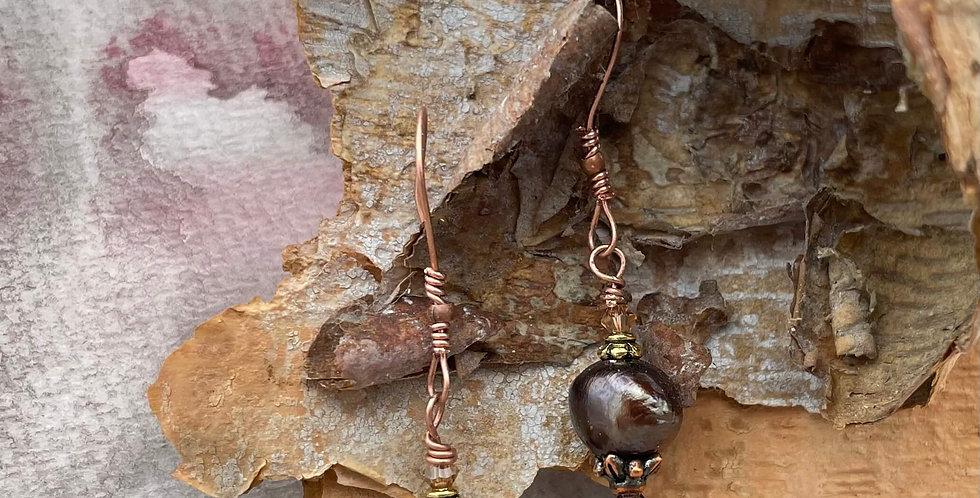 Pearl Warm Bronze Earrings