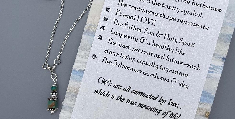 Turquoise Circle of Life Trinity Birthstone Bracelet