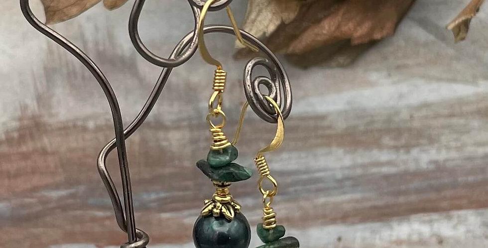 Pearl and Emerald Verde Earrings