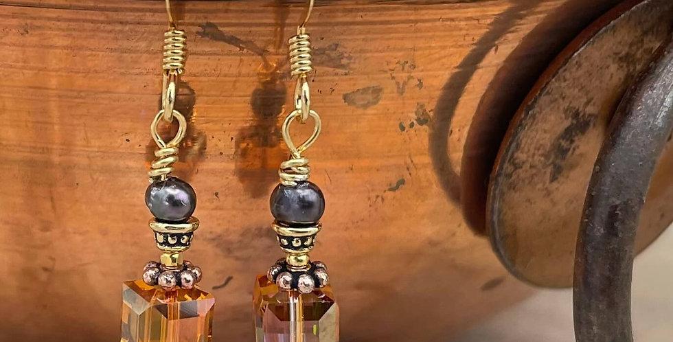 Pearl Topaz Copper Top Earrings