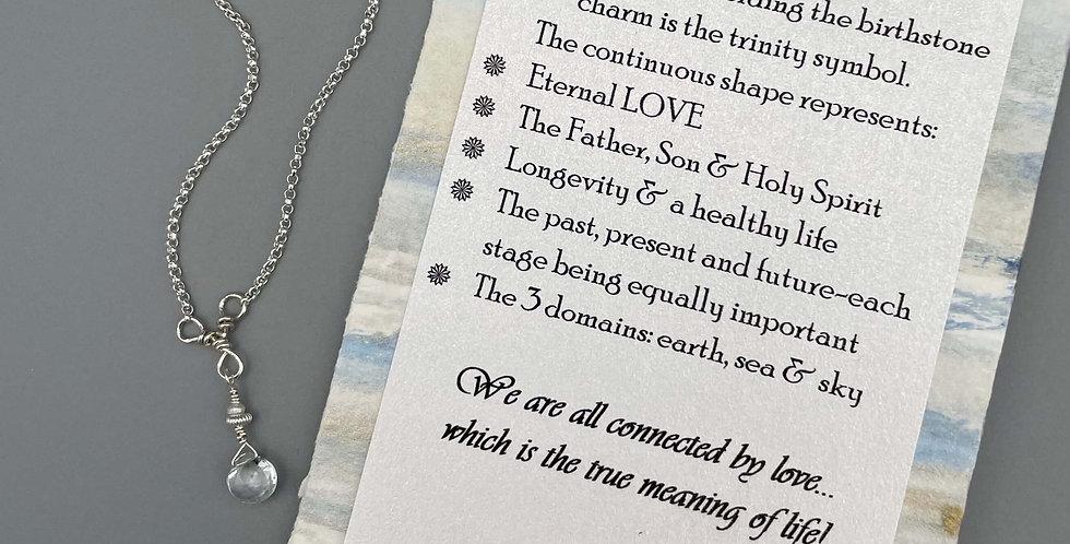 Aquamarine Circle of Life Trinity Birthstone Bracelet