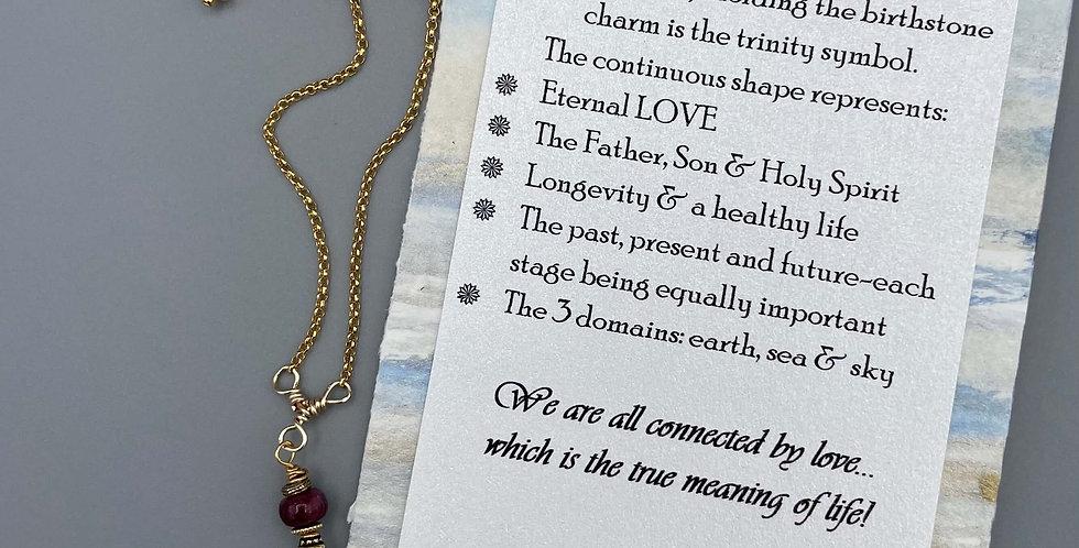 Ruby Circle of Life Trinity Birthstone Bracelet