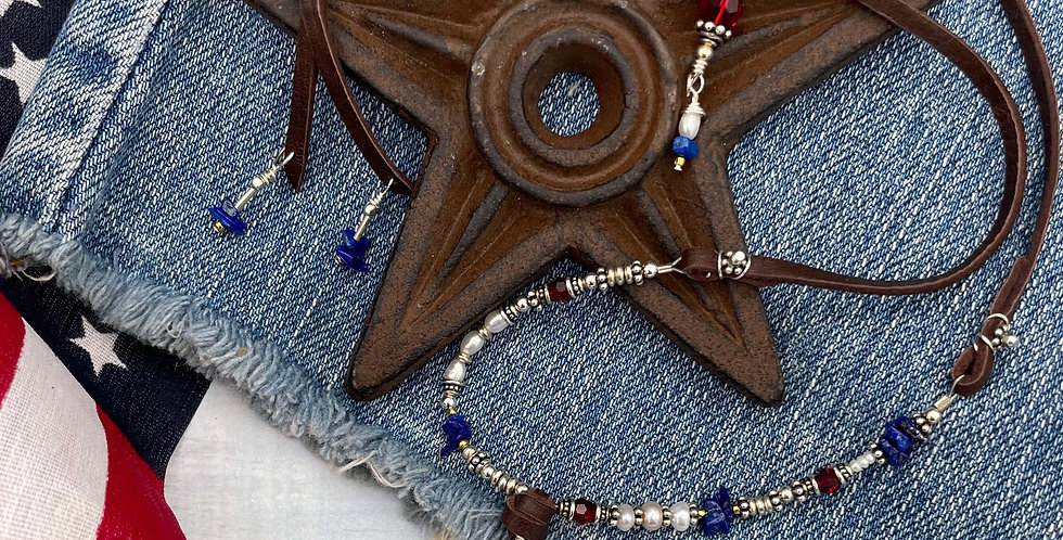 Lapis and Pearl Wave of Glory Necklace