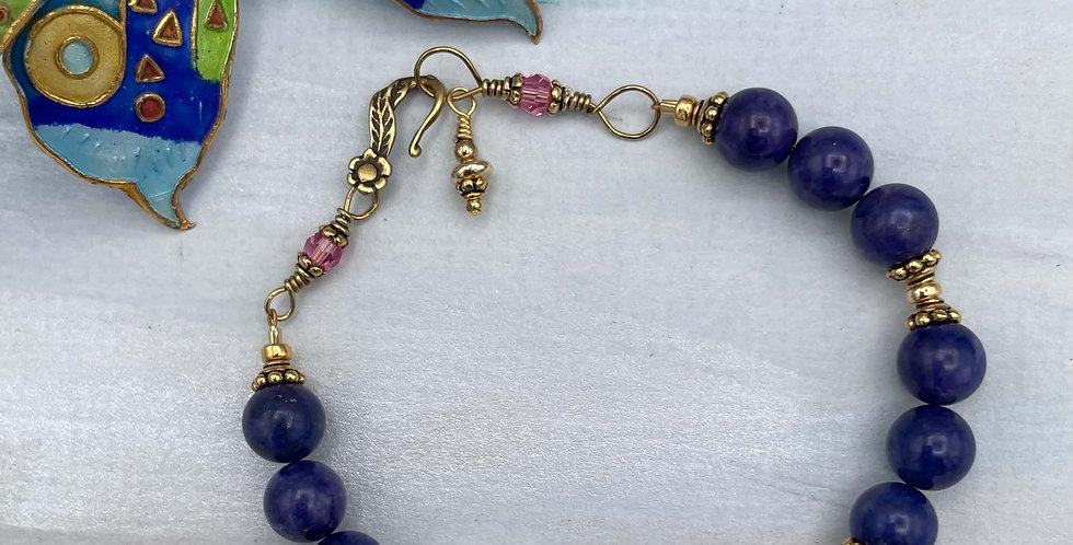 Lapis Blue Water Lotus Cloisonné Bracelet