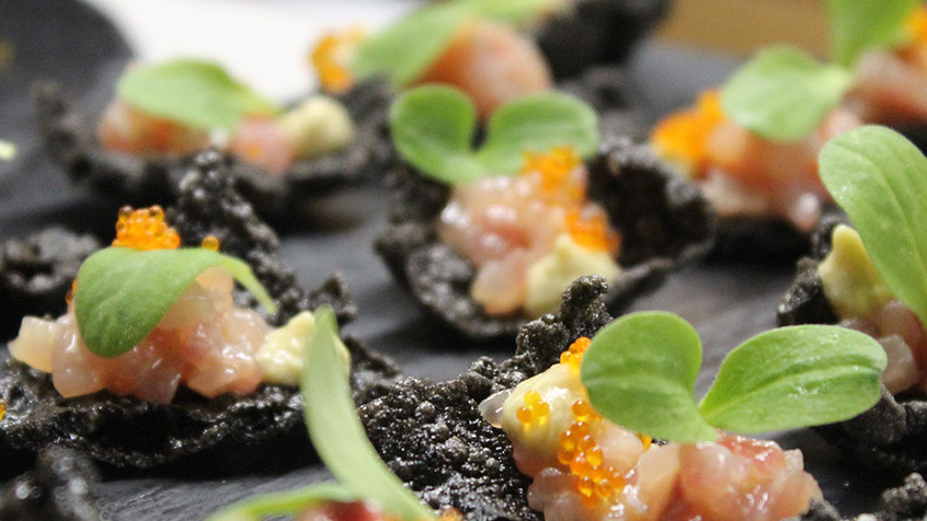 Squid Ink Rice Crackers with Kingfish Tartare