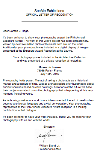 Official Letter of Recognition for the Exposure Award