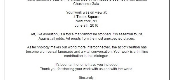 Official Letter of Recognition for the Chashama Gala in New York