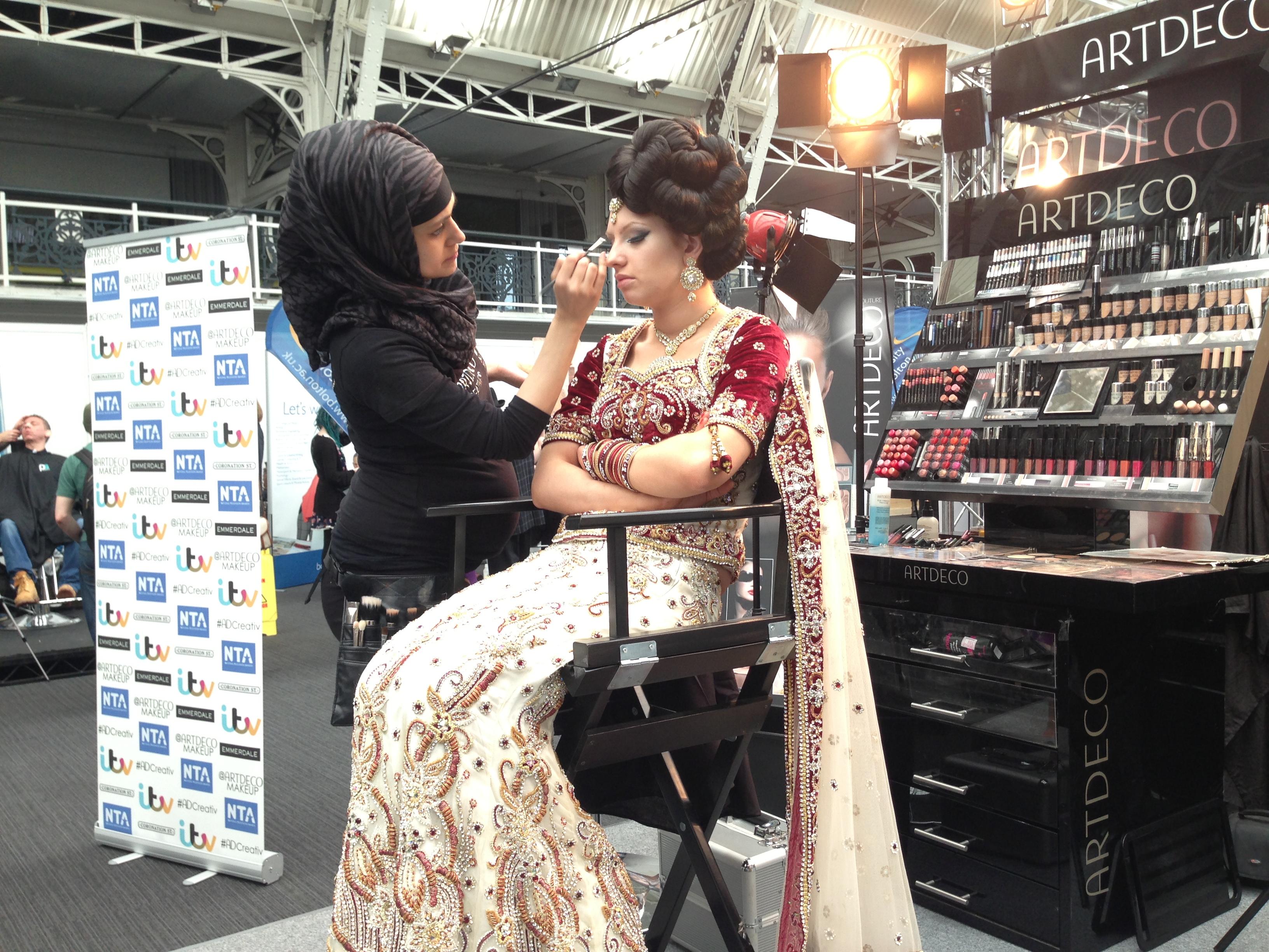 Contemporary asian bridal  Makeover at the ArtDeco counter for the makeup artist