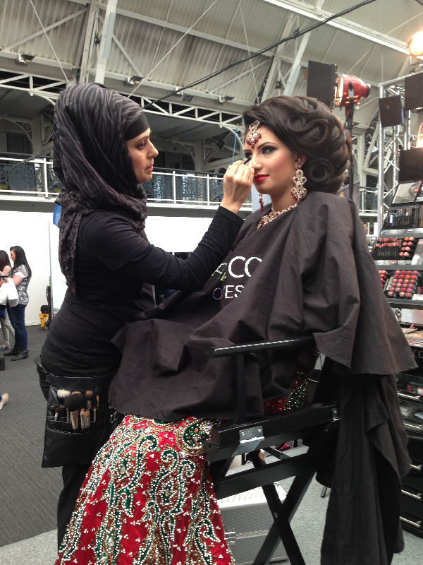 At the artdeco stand creating a Traditional asian bridal makeover  at the makeup