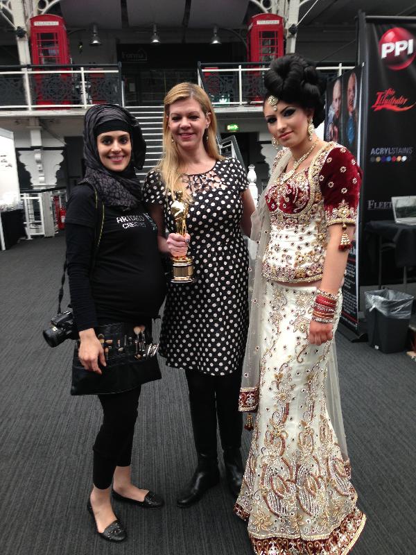 Oscar winning makeup artist complementing my work at the makeup artist expo Lond