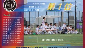 15期生 高円宮杯U-15 TOPリーグ【前期1位】