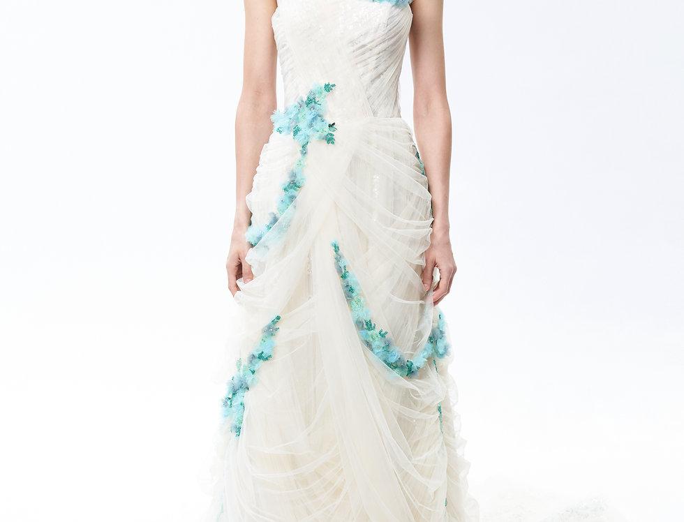風鈴藍色手工花縫珠白紗禮服