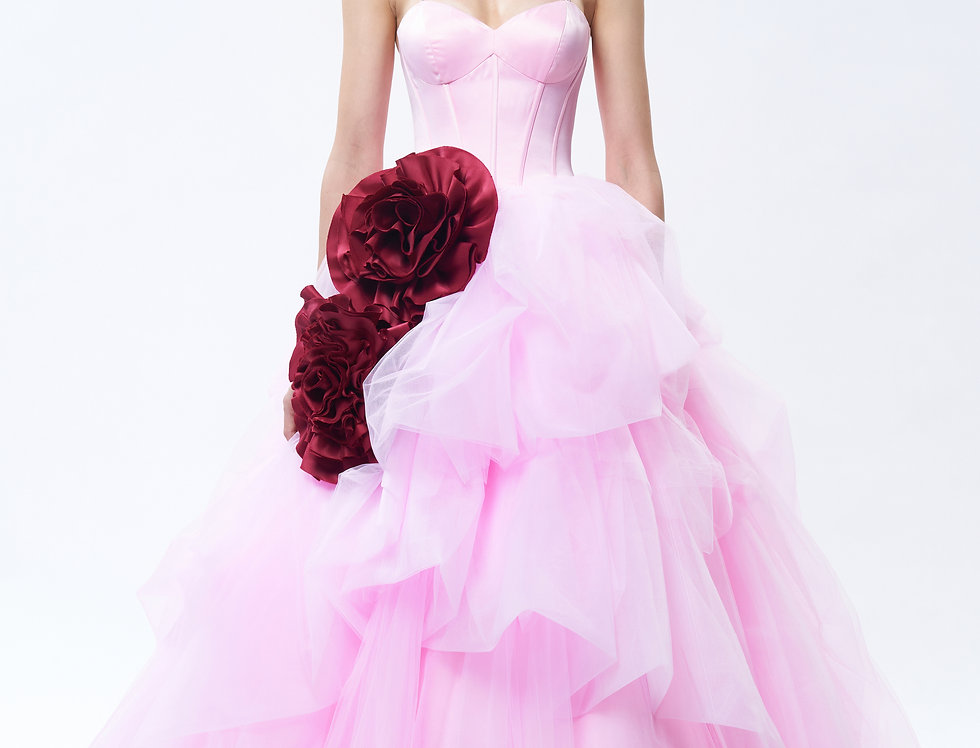 Blush Rose Pink Crumpled Ball Gown