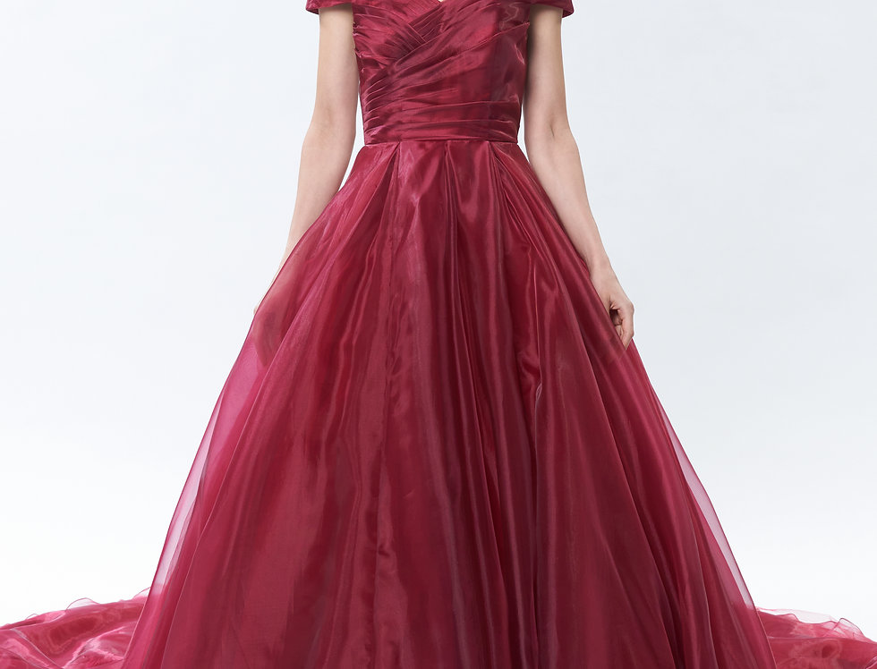 Hibiscus Ruby Chapel Train Evening Gown