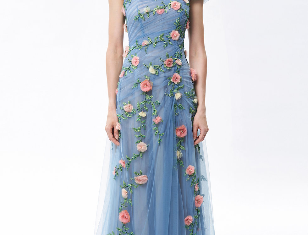 多花玫瑰刺繡蔓藤手工花晚禮服