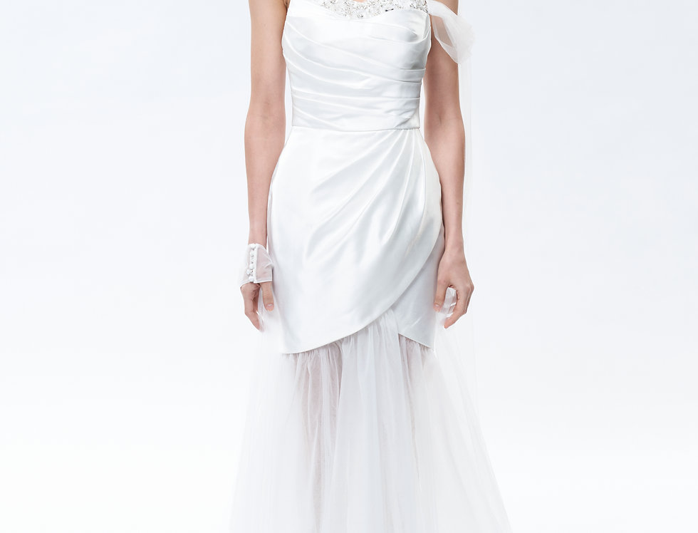 White Camellia Asymmetry Scratching Beaded Wedding Dress