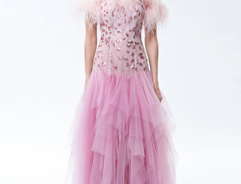 Pink Dandelion Ostrich Feather Gown