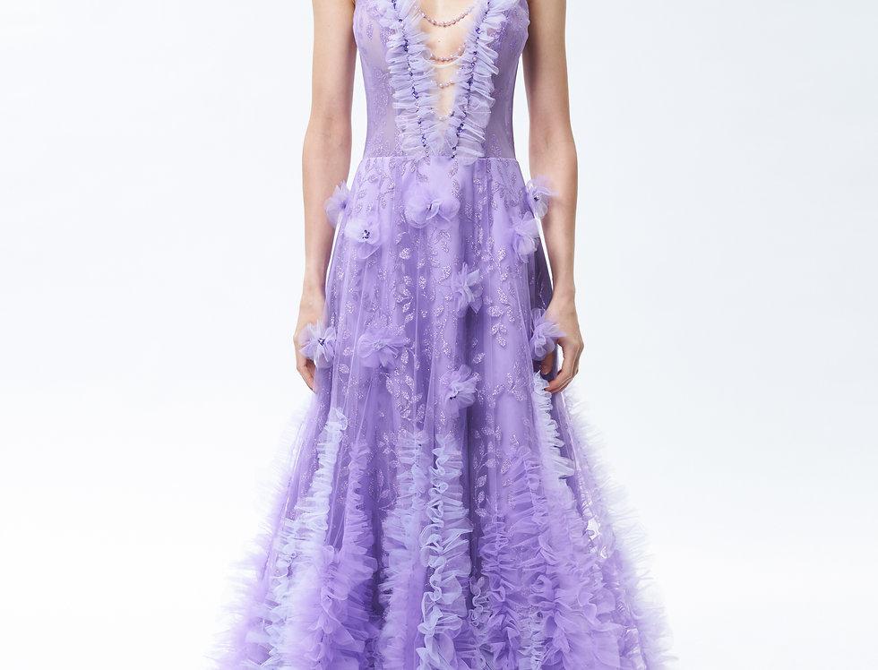 紫羅蘭深V漸層網紗晚禮服
