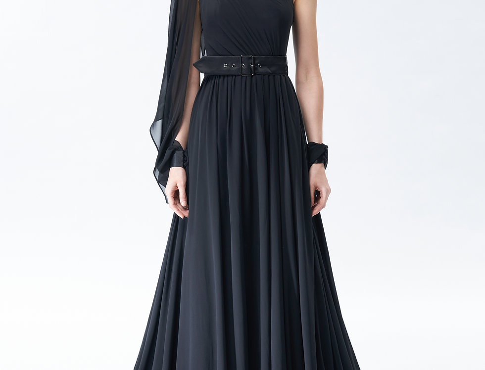 Persephone One Shoulder Black A-line Chiffon Gown