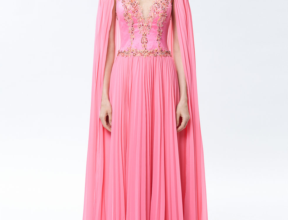 Hestia Luxury Coral Beaded Pleated Gown