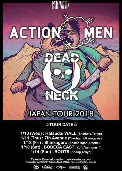 Actionmen (イタリア) x Dead Neck (イギリス) ダブルヘッドライナーツアー2018年1月開催決定!