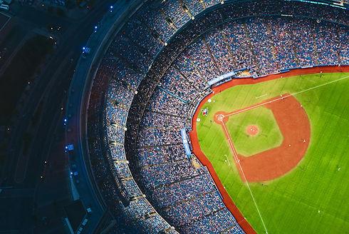 Aerial view of baseball stadium