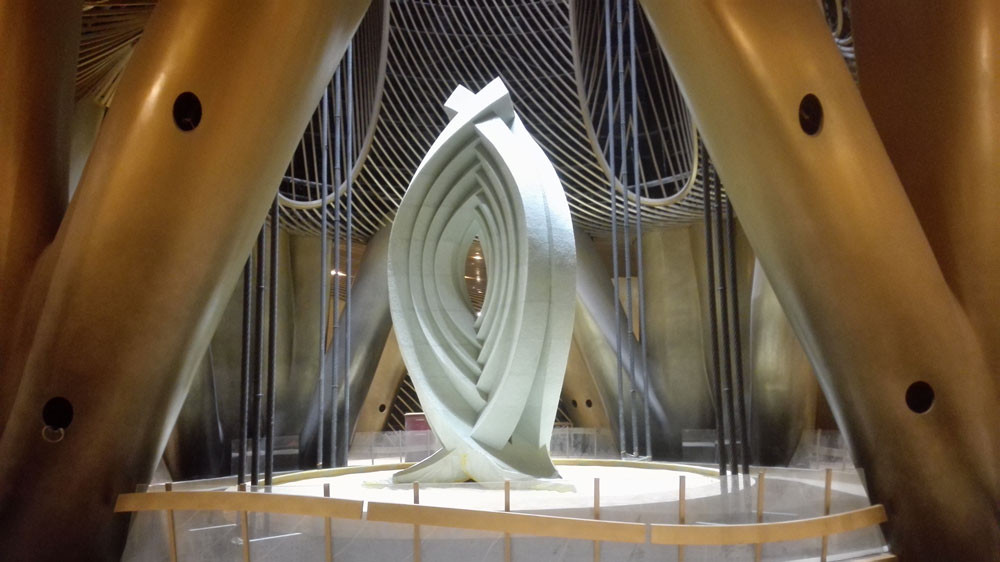 Sculpture on top of Shanghai Tower's tuned mass damper