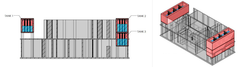 plans for three tuned sloshing damper tanks in a building
