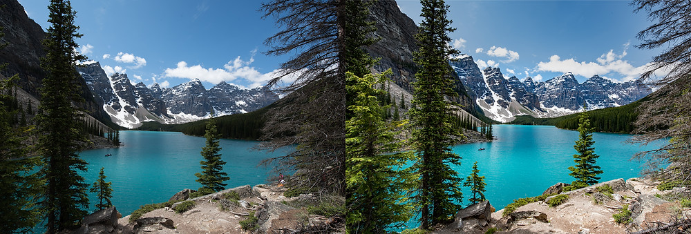 Before and after editing lake moraine