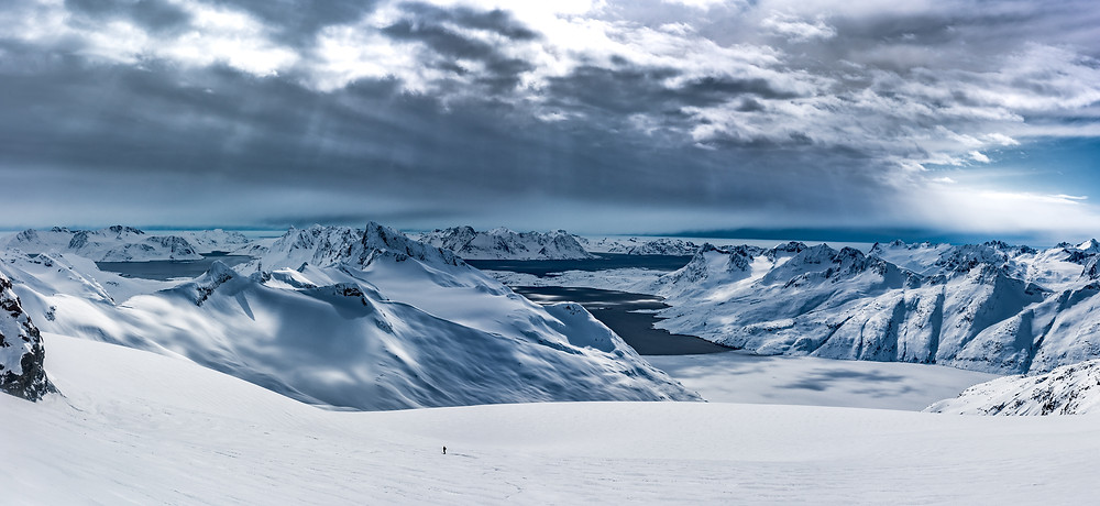 Greenland Fjords with a skier