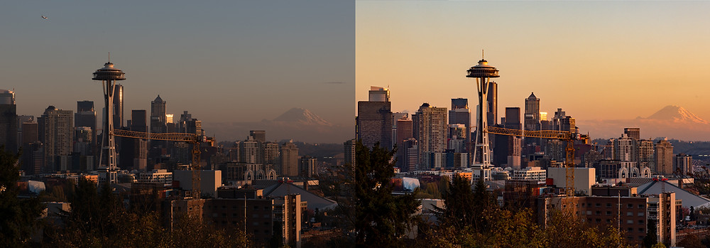 Before and after editing a raw image