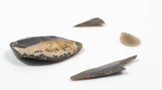 Flint arrowheads and a scaper