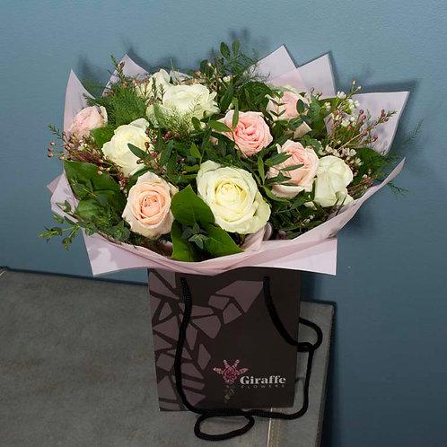Dozen Pink and Cream Roses