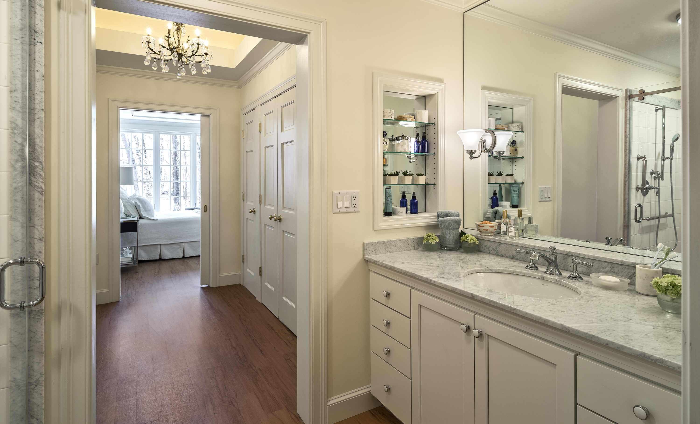 Post-stage bathroom vanity