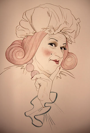 Virginia Colley. Pantomime Dame. Snow White. Portrait Drawing