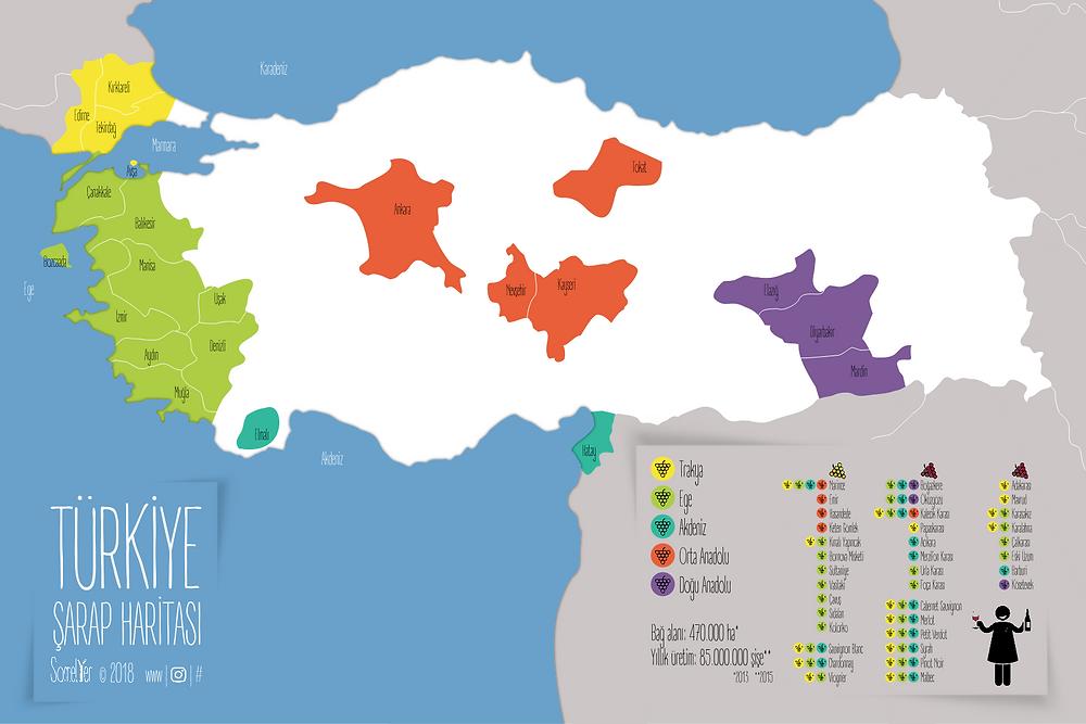 Türkiye Şarap Haritası / Turkey wine map