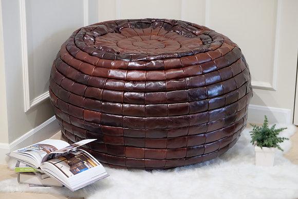 Full Grain Leather Bean Bag | Wine Red