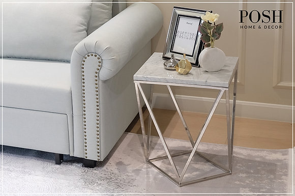 Diamond Side Table | White Carrara Marble