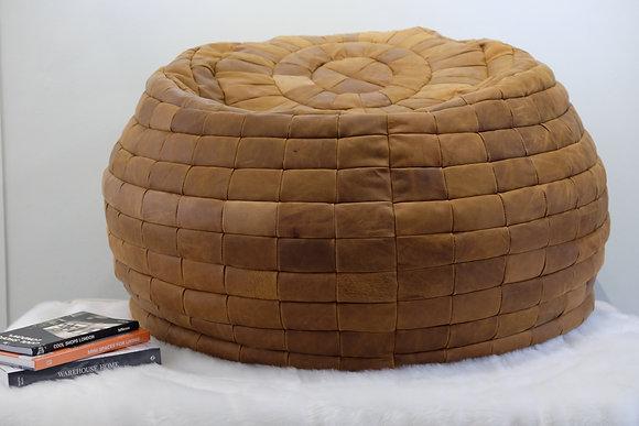 Nubuck Leather Bean Bag   Tawny