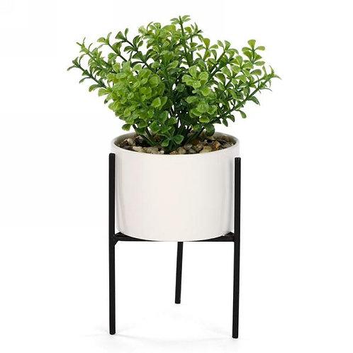 Artificial plant in pot/metal rack