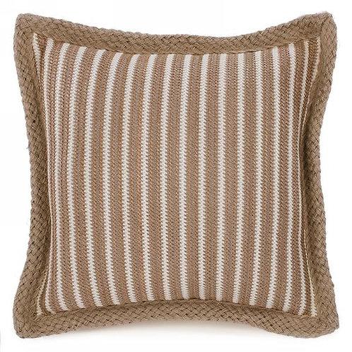 Pillow - brown stripes, jute trim